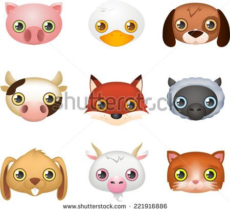 Cute farm animal faces like: Fox, Dog, Duck, Cow, Rabbit, Goat.