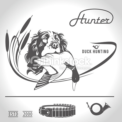 Hunting Vector Illustration Hunting Dog With Duck In His Mouth.