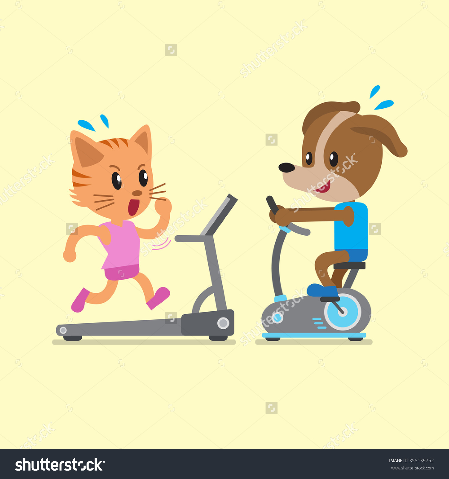 Cartoon Cat Dog Doing Exercise Exercise Stock Vector 355139762.