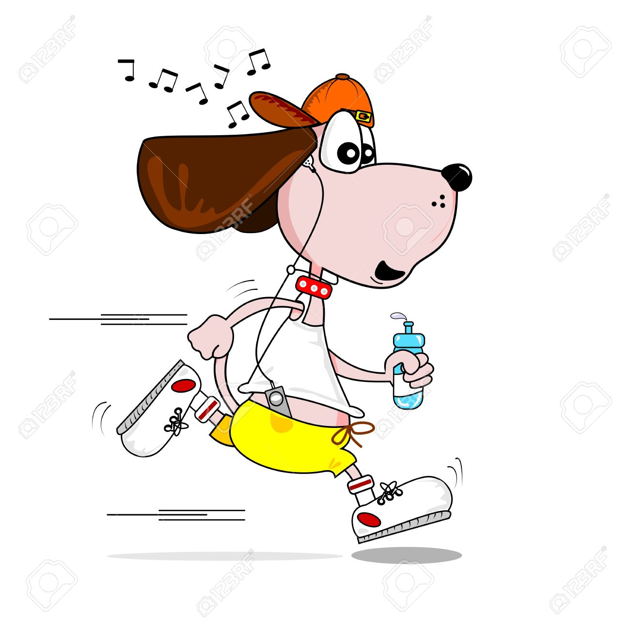 A Cartoon Dog Keeping Fit Jogging To Music Royalty Free Cliparts.