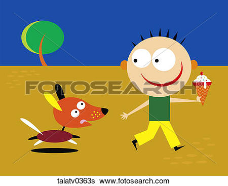 Stock Illustration of Boy running with dog and ice cream cone.
