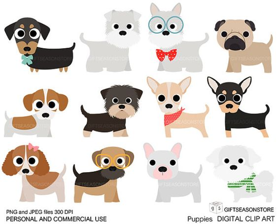 Puppies Digital clip art part 1 for Personal and Commercial use.