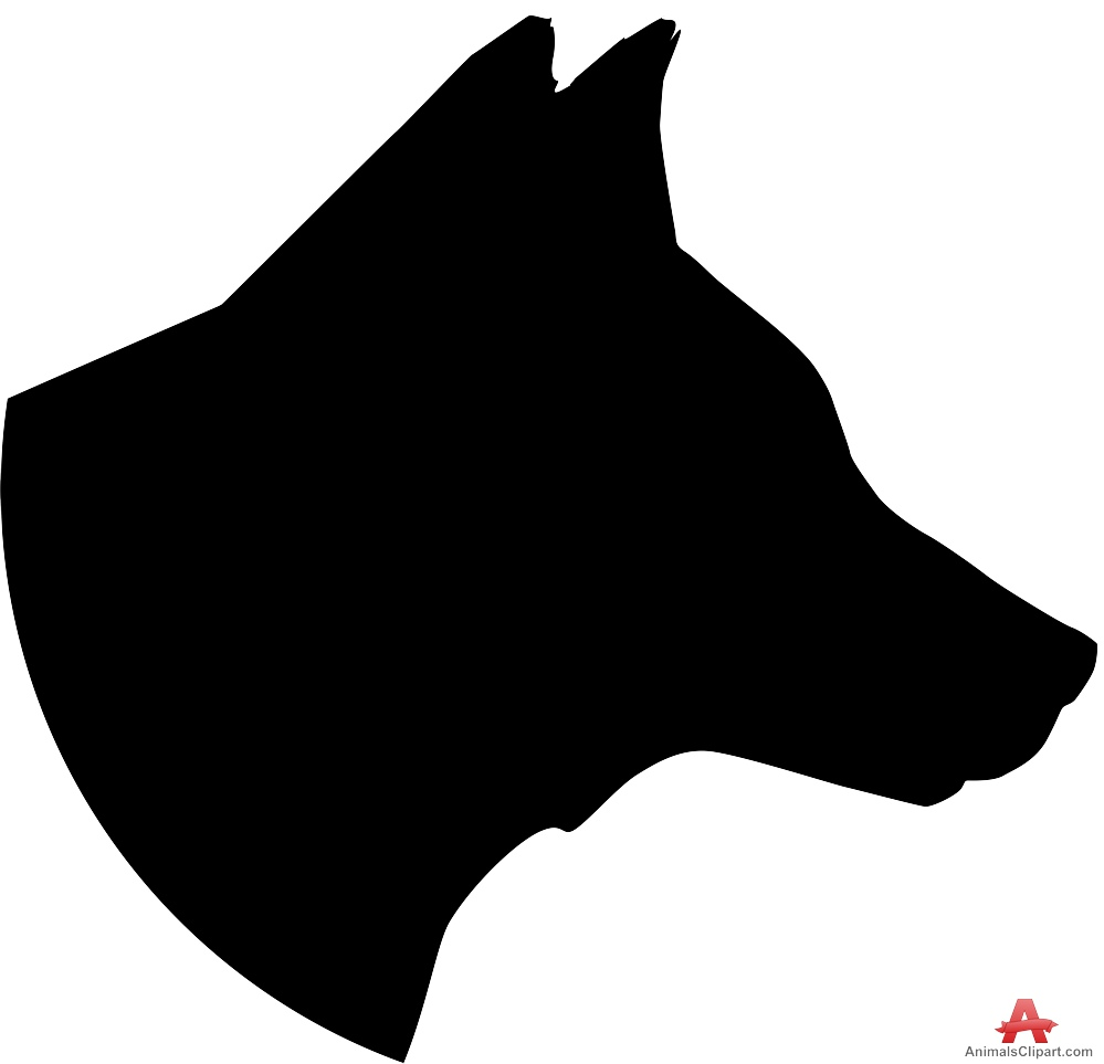 Silhouette Design of Large Dog Head.