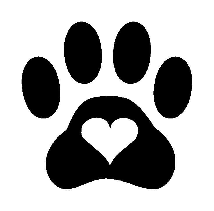 Dog paw heart clipart.