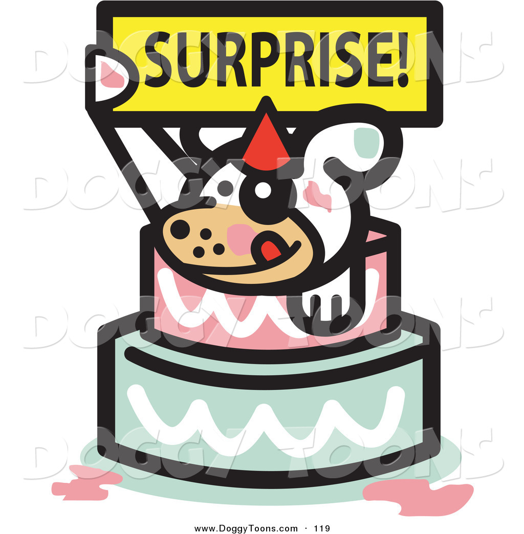 Doggy Clipart of a Cute White Dog Holding a Surprise Sign.
