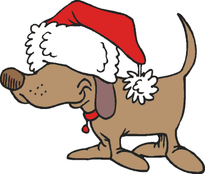 Holiday dog clipart.