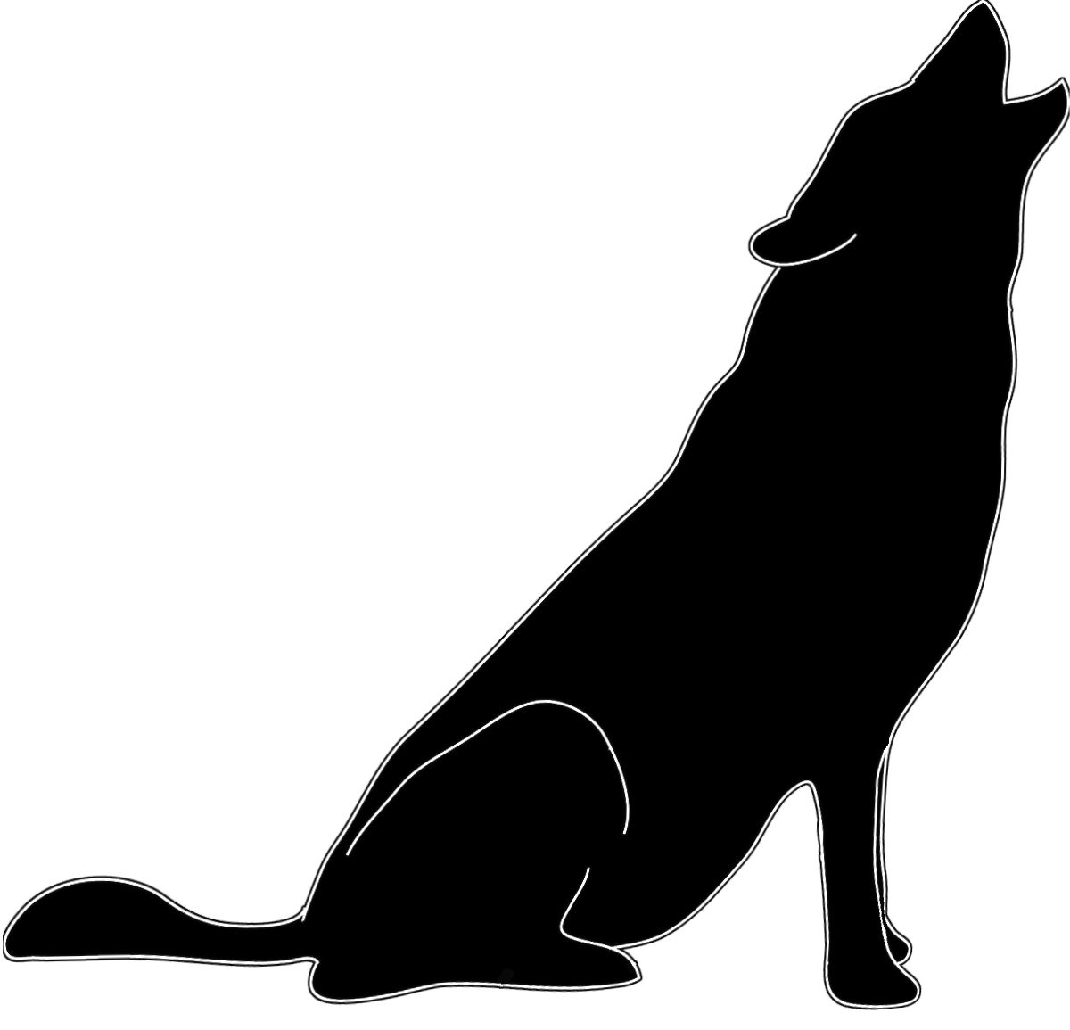 Silhouette in black white howling wolf.
