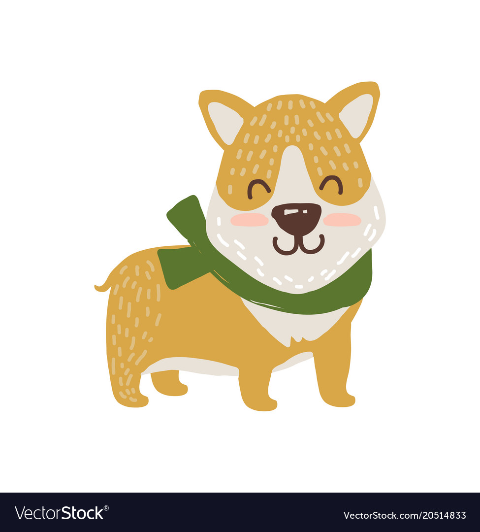 Happy dog in scarf icon.
