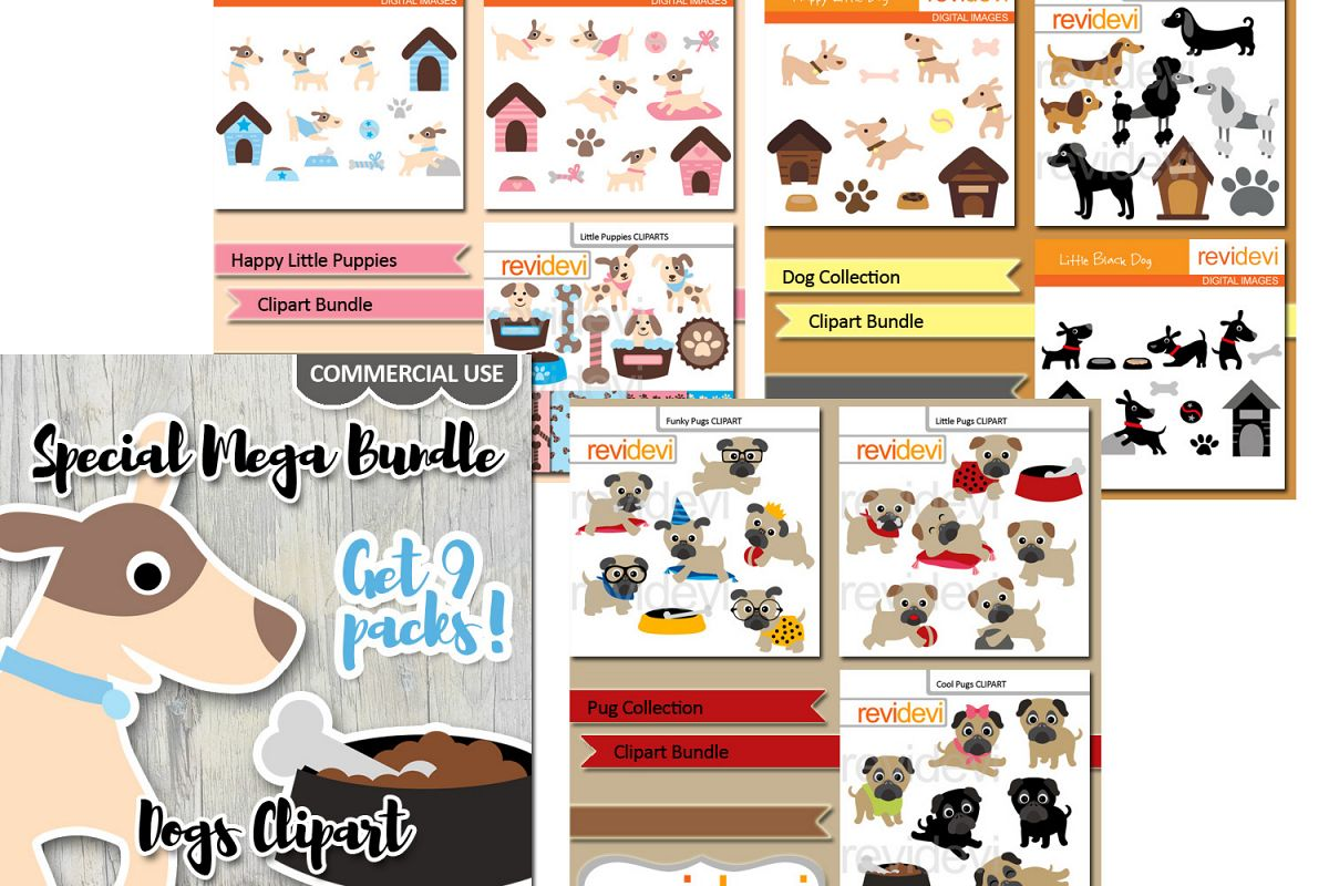 Dog clip art illustrations.