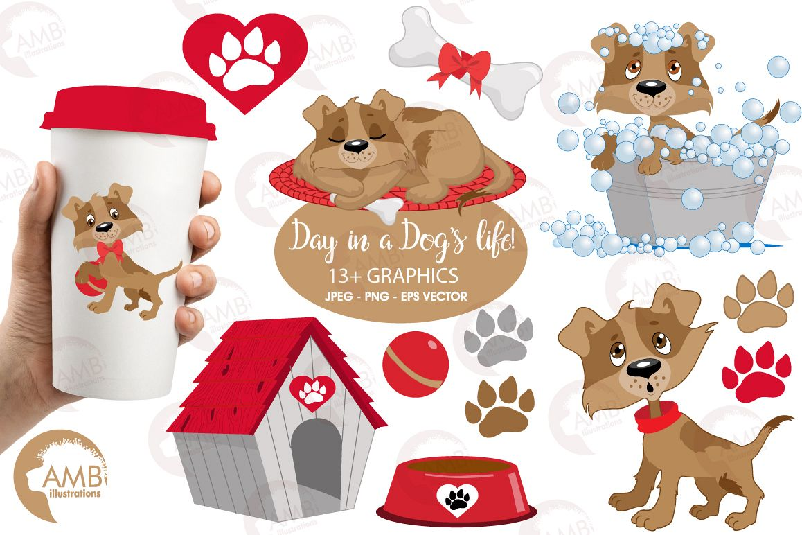 Day in a dogs life clipart, graphics, illustrations AMB.