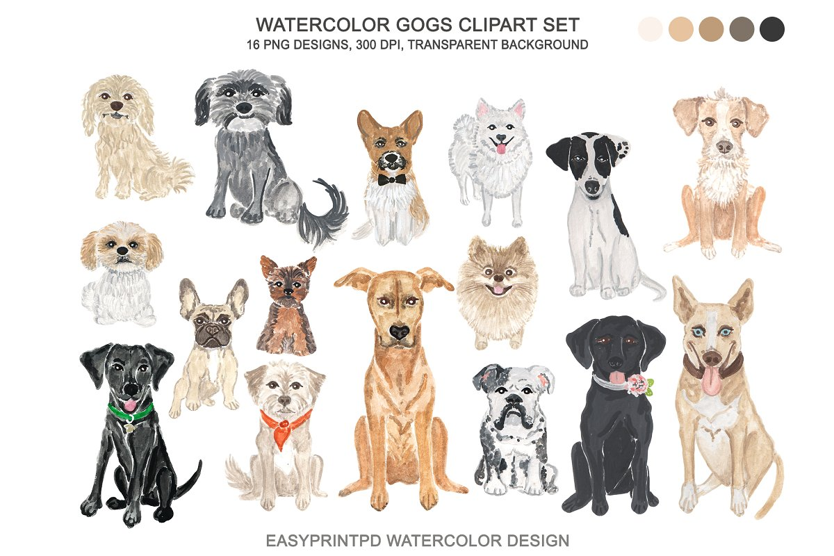 Dog Breeds Clipart Watercolor.