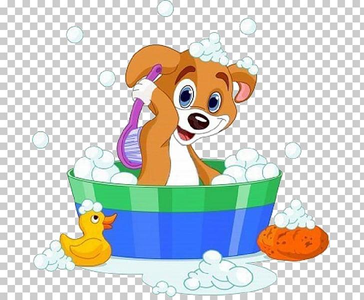 Dog Bathing , The dog a bath, brown dog brushing back PNG.