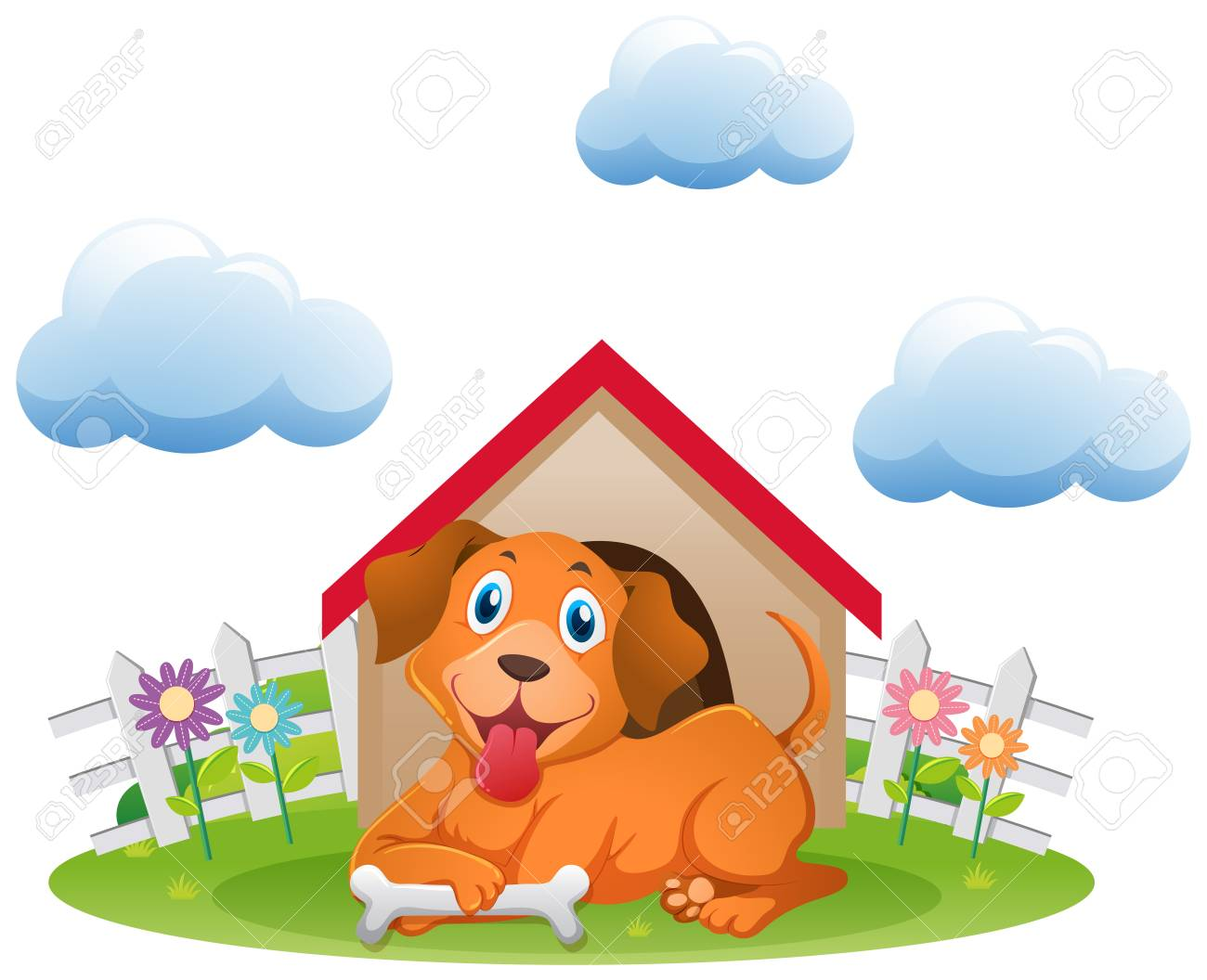 Dog In Doghouse Clipart 5.