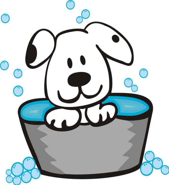 Dog In Bath Clipart.