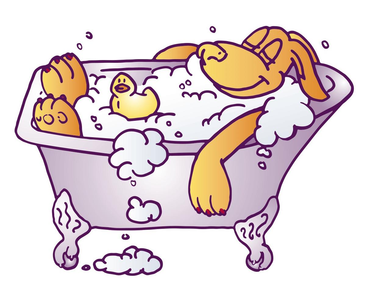 Dog In Bathtub Clipart.