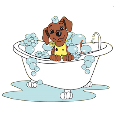 Dog In A Tub Clipart.