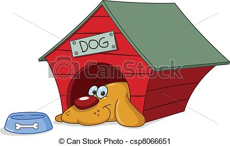 Vector Clip Art of Dog in doghouse.