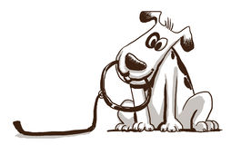 Dog holding leash clipart.