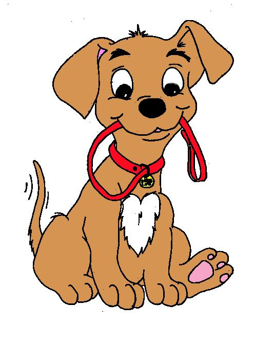 puppy with leash clipart.