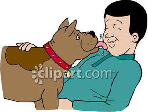 Dog Licking Man Royalty Free Clipart Picture.