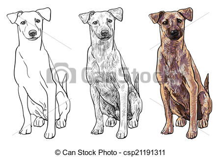 Vector Clip Art of Sitting brown dog look curious like watching.