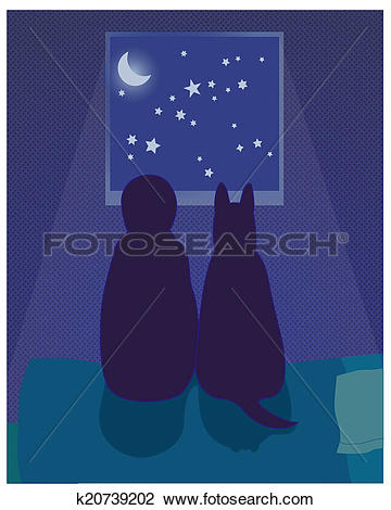 Clip Art of Child and dog look at the night sky k20739202.