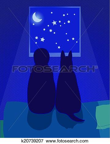 Clip Art of Child and dog look at the night sky k20739207.