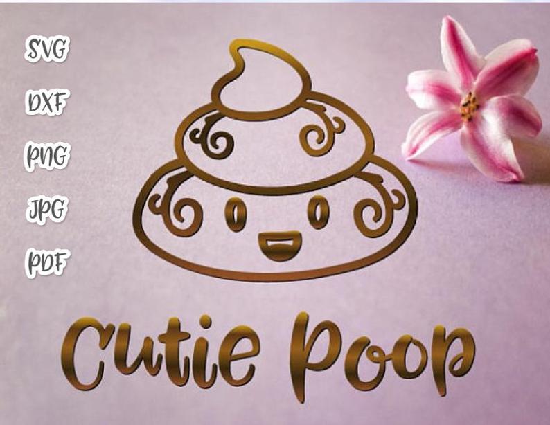 Poop Emoji SVG Cute Dog Poop Bag Mom Pet Lover Funny Toilet Clipart Print  Gag Gift.