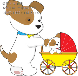 Clip Art Illustration of a Mother Dog Pushing Her Cute Puppy in a.