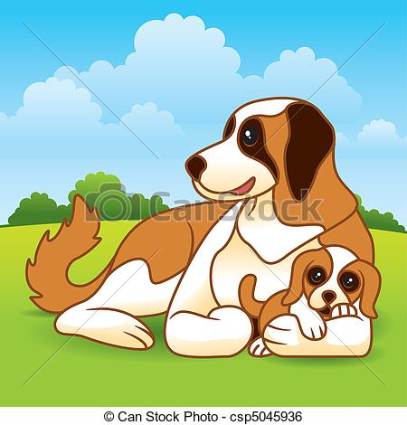 Mother Dog And Puppies Clipart.