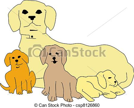 Mother dog and puppy clipart.