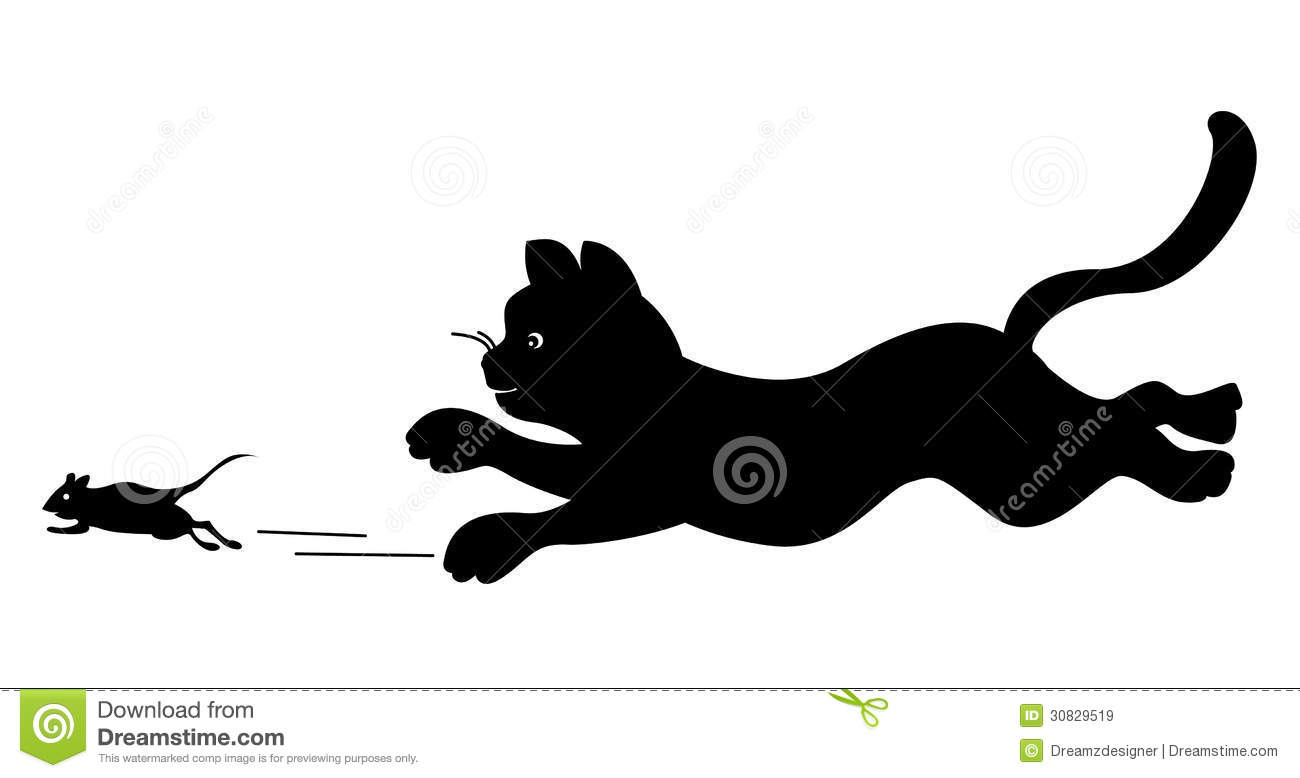 Cat chasing mouse clipart.