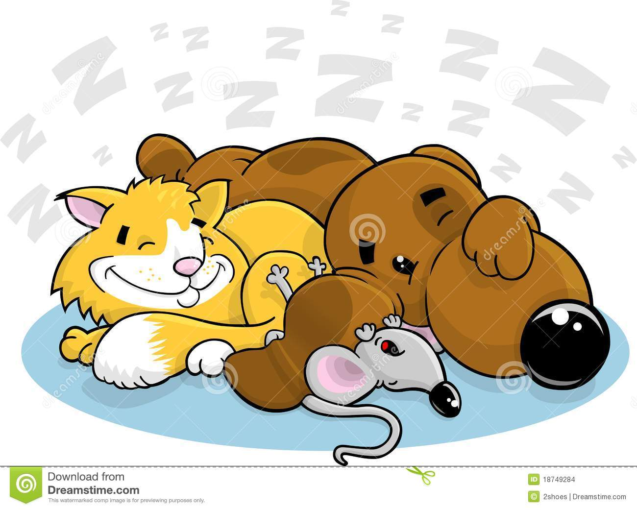 Cartoon Dog Cat And Mouse Stock Images.
