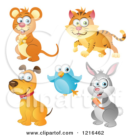Clipart of a Mouse Cat Dog Bird and Rabbit.