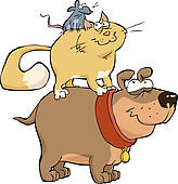 Clip Art of Dog cat and mouse k13011738.