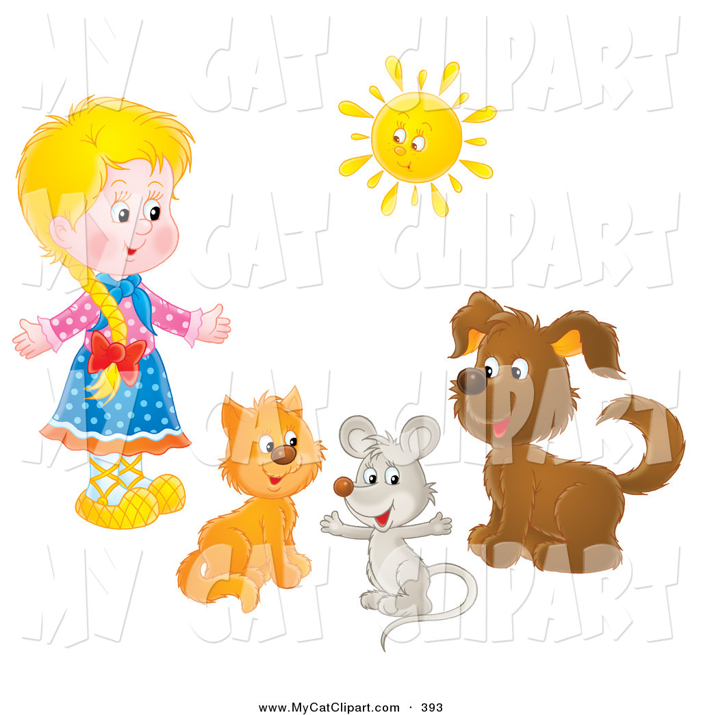 Clip Art of a Little Blond Girl with a Cat, Mouse and Dog Under a.