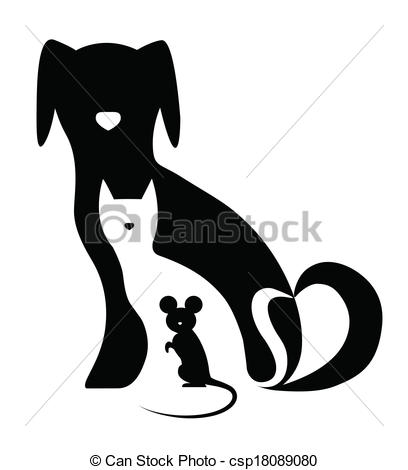 Vector of Funny dog cat and mouse composition csp18089080.