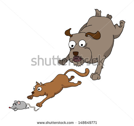 Cat Chasing Mouse Stock Photos, Royalty.