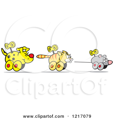 Clipart of a Wind up Dog Chasing a Cat and Mouse.
