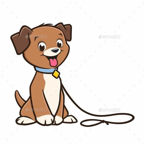 Vector cartoon cute puppy on a leash.