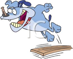 Art Image: A Dog Jumping Off a Diving Board with a Clothespin on.