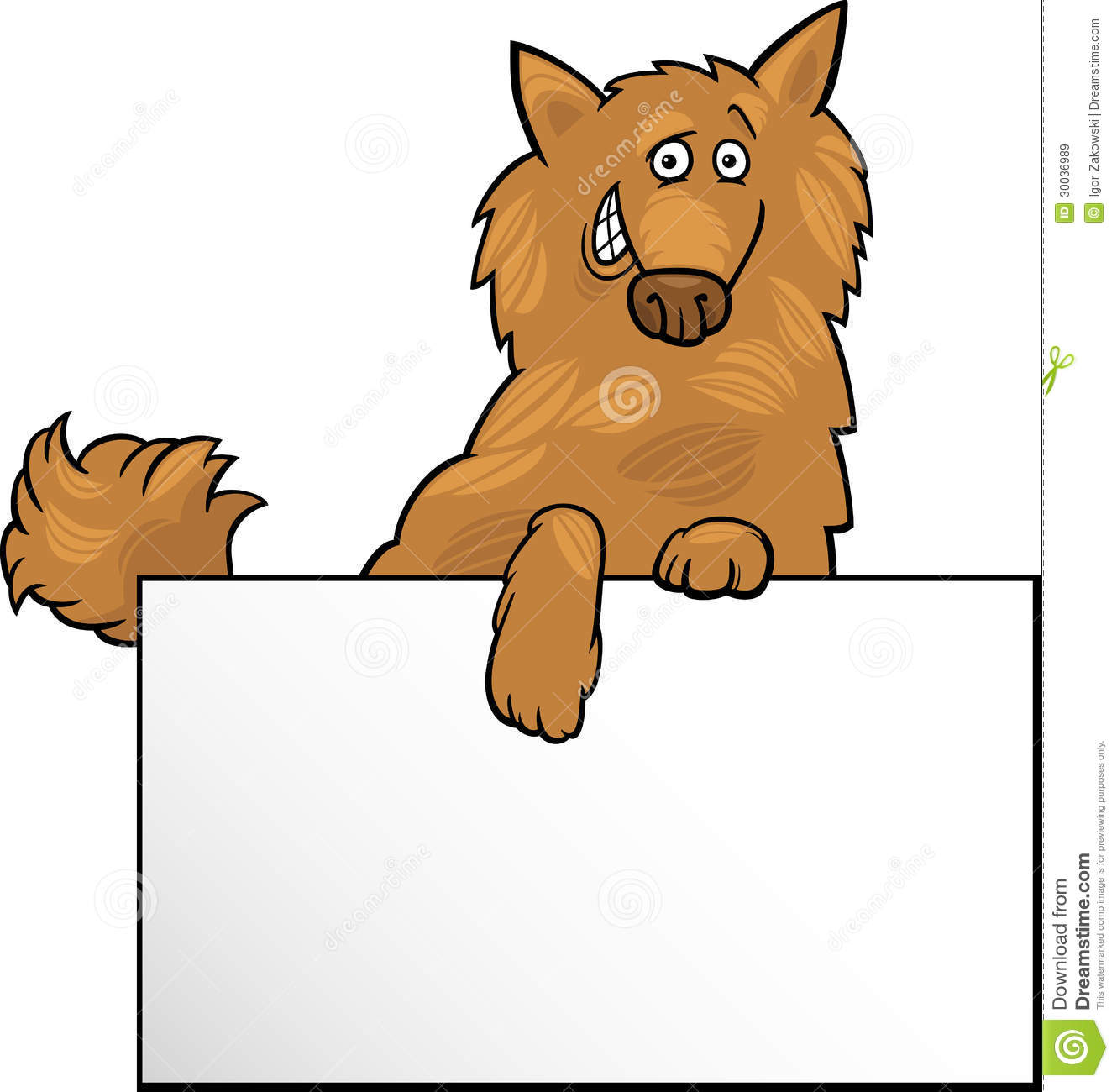 Cartoon Dog With Board Or Card Design Royalty Free Stock Images.