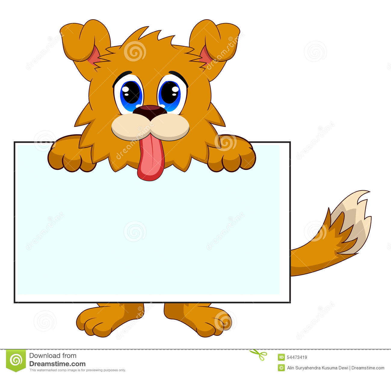 Dog With White Board Stock Vector.