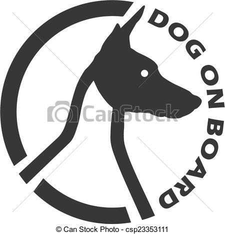 Vector Clip Art of Dog on board.