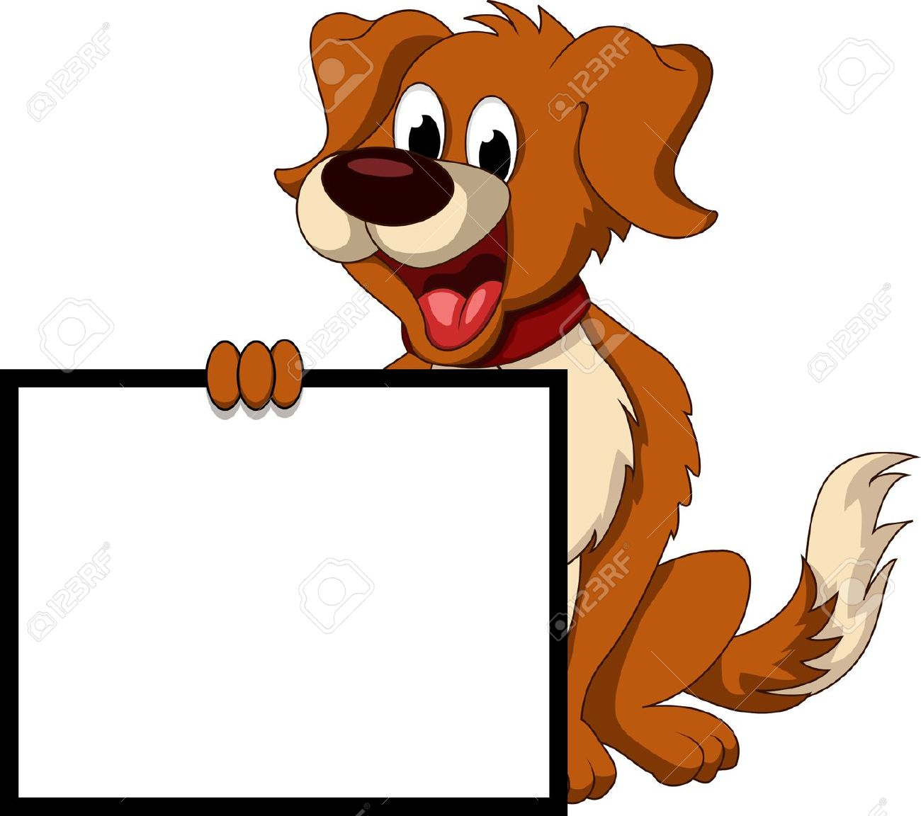 Dog holding sign clipart.