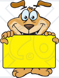 Clipart Illustration of a Smiling Brown Dog Holding Up A Blank.
