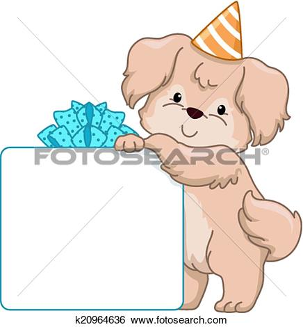 Clip Art of Dog Birthday Gift Board k20964636.