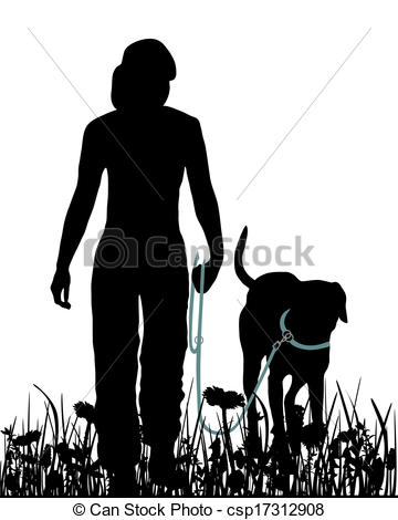 Vector Clipart of Walking with dog in the meadow csp17312908.