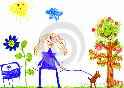 Child's Drawing Dog On A Meadow Stock Illustration.