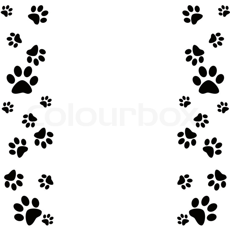 Dog Paw Print Border Clipart.